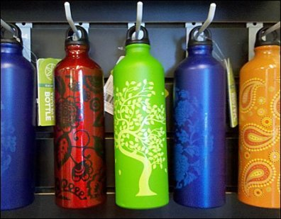 Waterbottles One-Up on Slatwall