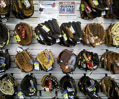 Baseball Gloves on Slatwall Hooks