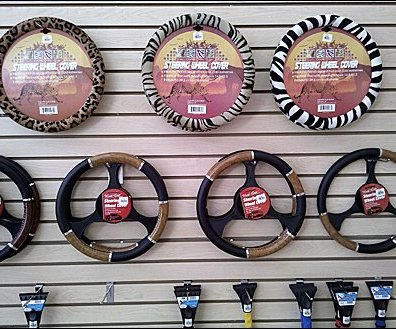 Steering Wheel Covers on Slatwall Hook