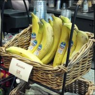 Banana in Wicker Basket CloseUp Photo