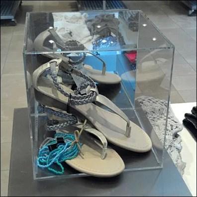 Cubist Bell Jar Sells Sandals Closeup