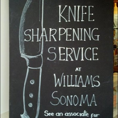 Knife Sharpening Hand Chalked Sign