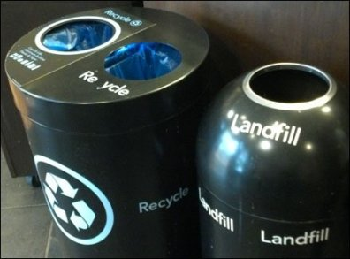 Recycle vs Landfill Closeup