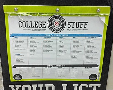 College Back-to-School List Detail
