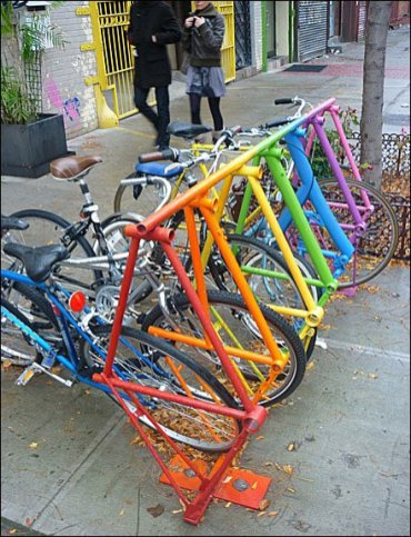 Color Bike Rack Made from Bicycles