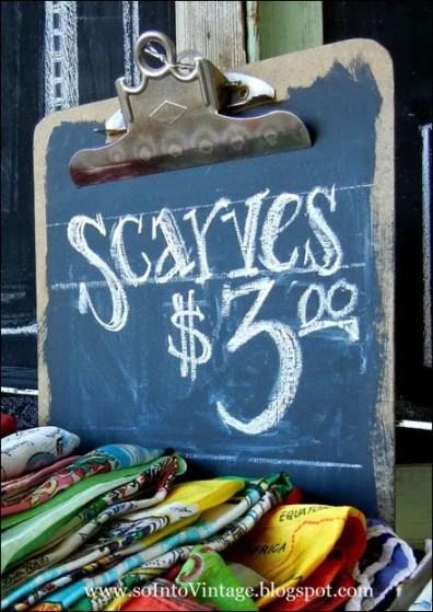 Scarves Chalkboard Clip Board Aux