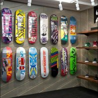 Skateboards on Angled Slatwall