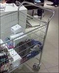 Mail Cart as Returns Cart Closeup
