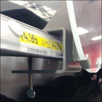 C-Clamped Oval Shelf Edge Mirror Detail