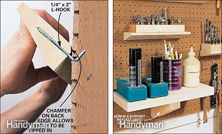 DIY Make-Your-Own Pegboard Shelving