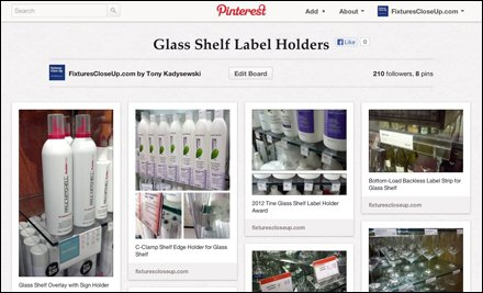 Glass Shelf Label Holder Pinterest Board for Fixtures Close Up