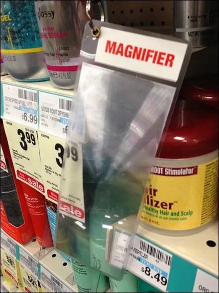 Shelf Edge Magnifier on Tether Main