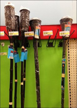 Tiki Torches on Broom Hooks Overview