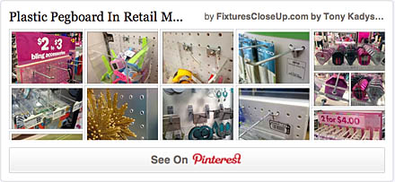 Plastic Pegboard Pinterest Board for Fixtures Close Up