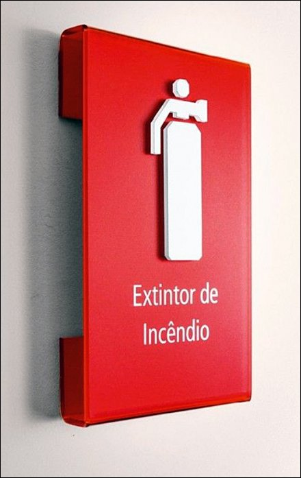Drop-Shadow Fire Extinguisher Signage