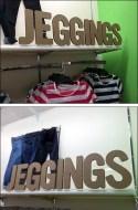 Jeggings Brand Corrugated Outline Sign
