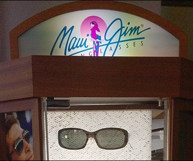 Maui Jim Watermarked Glass Display