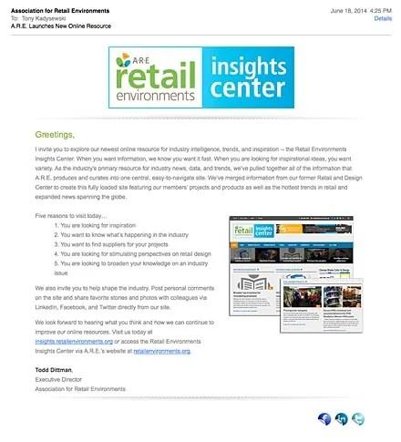 A•R•E Retail Environments Insights Center Invitation
