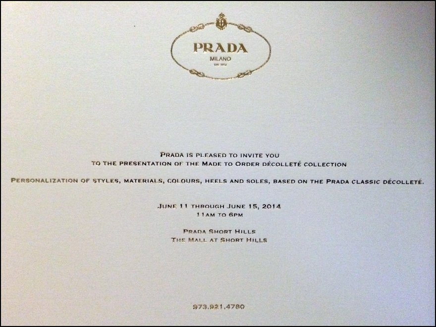 personal invitation from prada fixtures close up