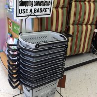 Shopping Basket Stand and Sign