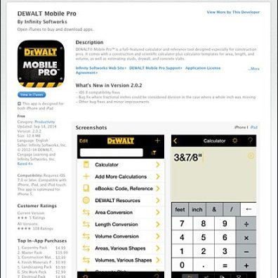 DEWALT Mobile Pro on the App Store on iTunes