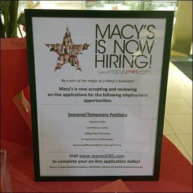 Macy's Holiday Hiring as Retail Merchandising Store Fixture 3