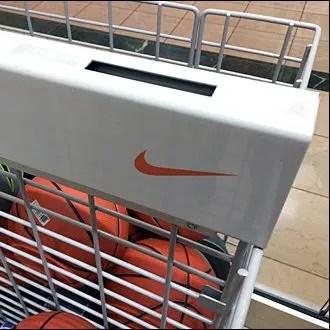 Nike branded open wire bulk bin for balls fixtures close up nike branded open wire bulk bin for balls publicscrutiny Gallery