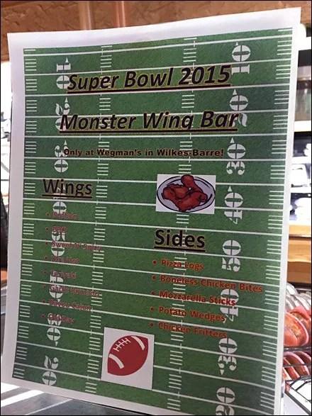 Super Bowl Monster Wing Bar Menu