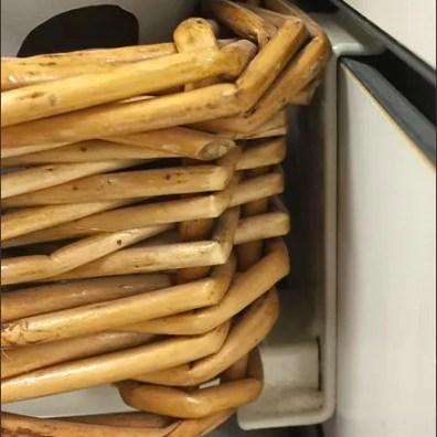 Wicker Shelves Sell Veggie Sticks
