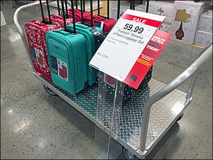 Diamond Plate Luggage Cart for Retail