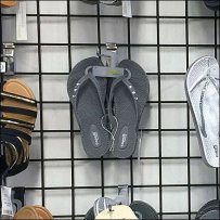 Sandals on Open Wire Grid Closeup 1