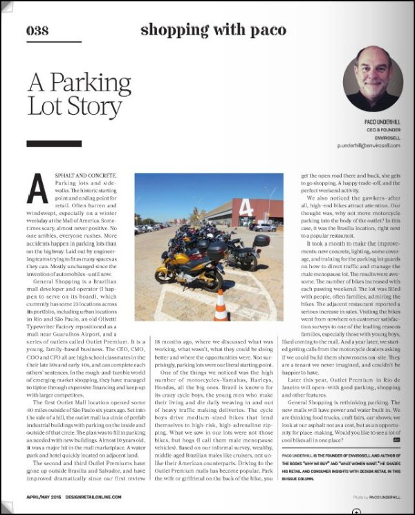 A Parking Lot Story, Paco Underhill, Design Retail Apr-May 2015