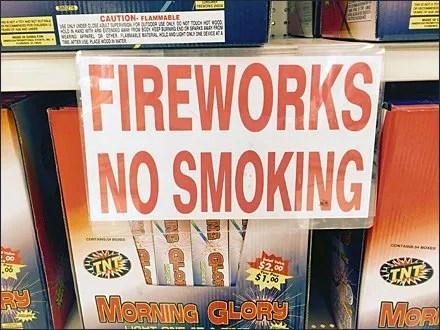 No Smoking Fireworks Sale