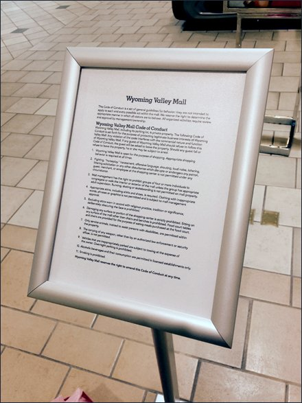 Mall Code of Conduct Plaque