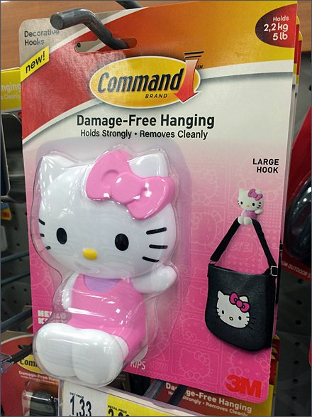 Hello Kitty Command Strip Pin-Up Hook