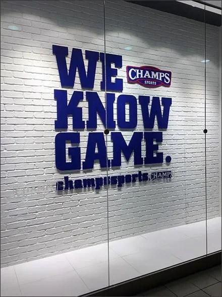 Champs Sports® Window Unvarnished Branding