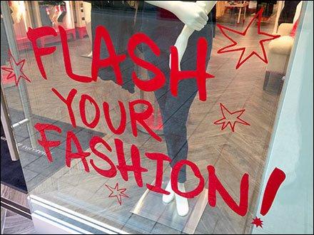Flash Your Fashion Window Cling