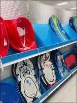 Snow Sled Shelf Merchandising With Corrugated