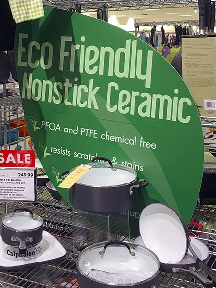 Eco-Friendly Cookware Display in Black-and-White