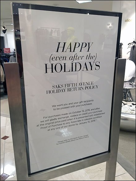 Saks Happy After The Holidays Return Policy