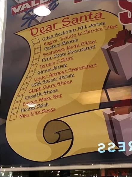 Santas Sporting Goods List Main