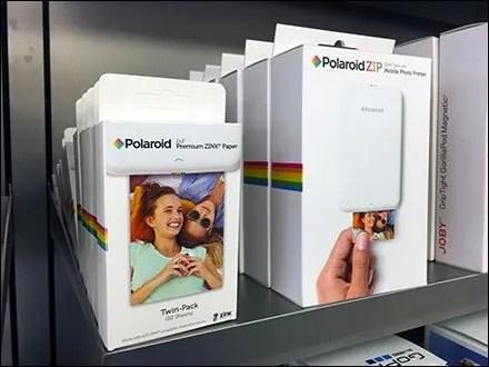 Apple Polaroid Printer Shelf Merchandising Angle