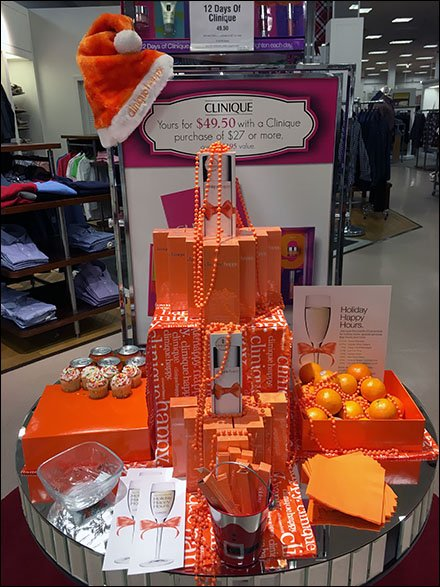 Clinique Happy Holiday Display in Orange