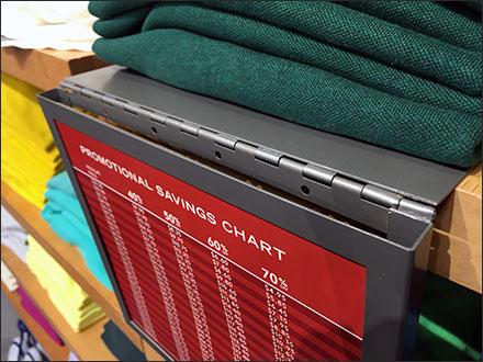 Hinged-Overlay Price Promotion at Shelf Edge