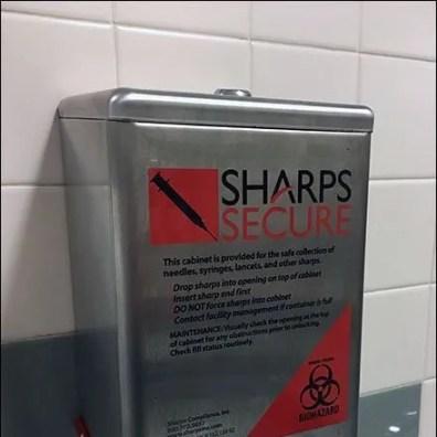Restroom Sharps Container CloseUp