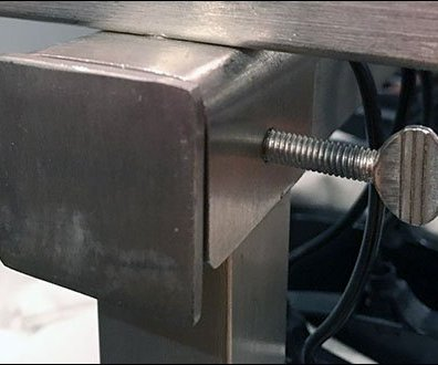 Saddle Mount Thumbscrew Rack Sign Holder CloseUp Detail