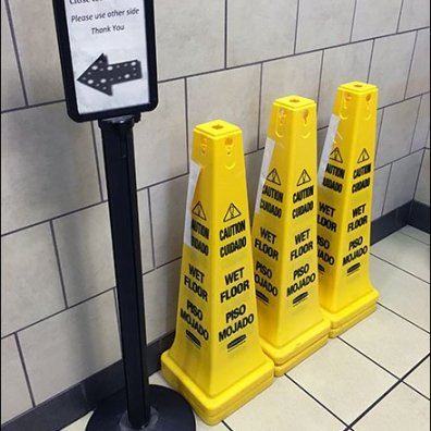 Close For Cleaning Wet Floor Pylons