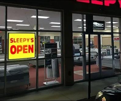 Sleepys Night Time Open Sign 2