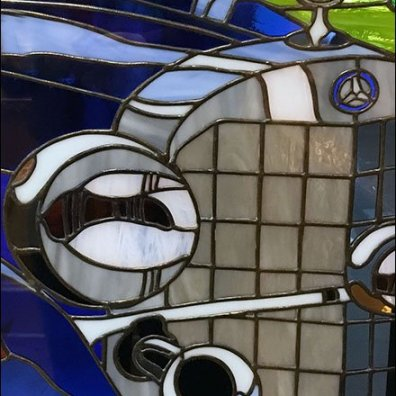 Mercedes Mens Restroom Stained Glass 3