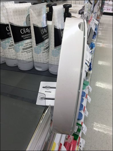 Olay Pro-X Circular Shelf Edge Sign Holder Mount 2